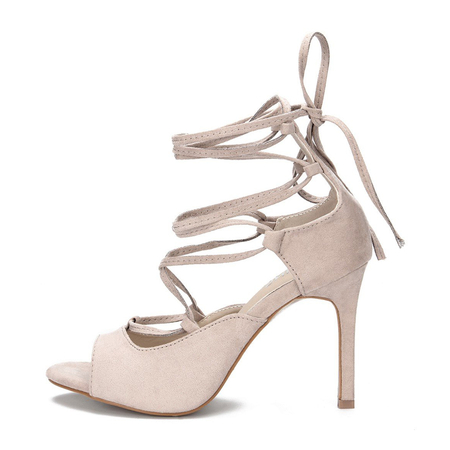 Apricot Crossing Strap Lace-up Ladies Heels