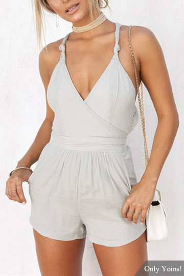Grey Wrap Front Cross Back V-neck Sexy Playsuit With Side Pockets