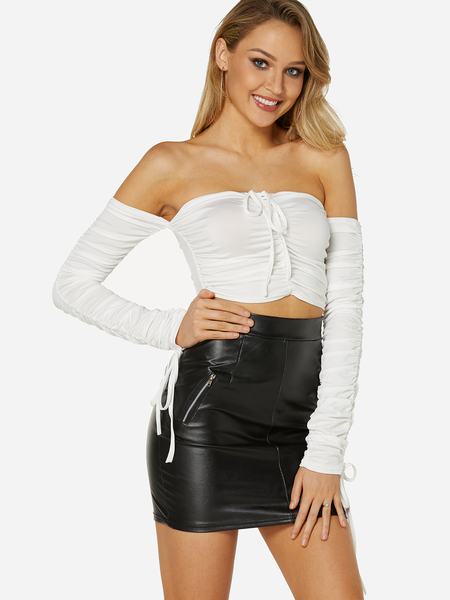 White Off Shoulder Long Sleeves Tie-up Design Crop Top