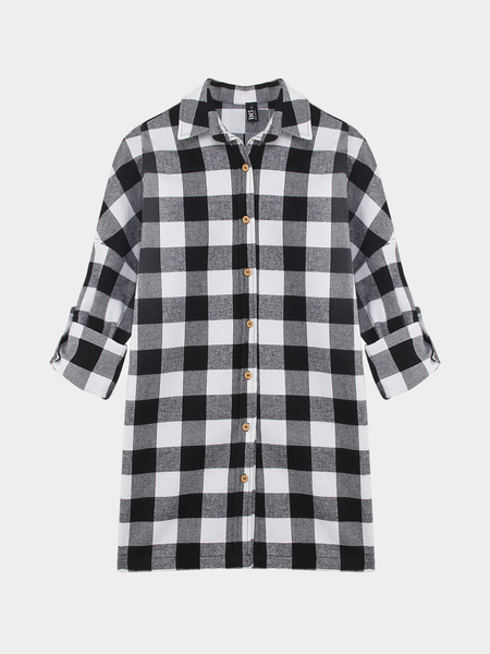Adjustable Sleeve Check Shirt Dress