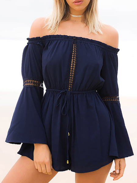 Off The Shoulder Flared Sleeeves Drawstring Waist Playsuit