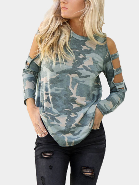Camouflage Cut Out Details Cold Shoulder Long Sleeves Tee