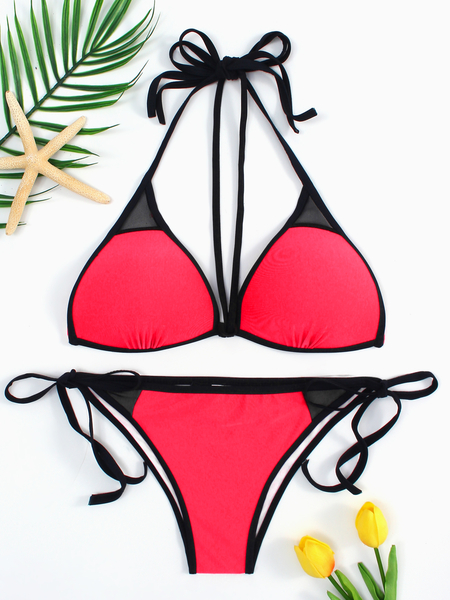 Red Lace-up Tie Back Bikini & Red Bottom Set