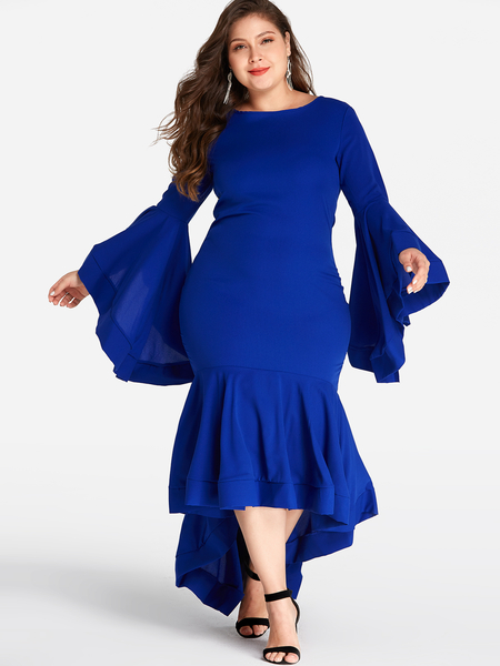 Plus Size Blue Bell Sleeves High-Low hem Dress