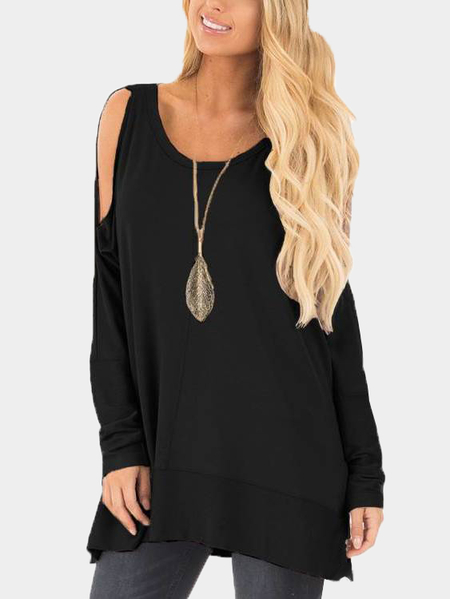 Black Cold Shoulder Cut Out Round Neck Long Sleeves T-shirt