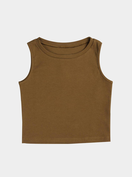 Active Cut Out Round Neck Quick Drying Elastic Tank In Brown