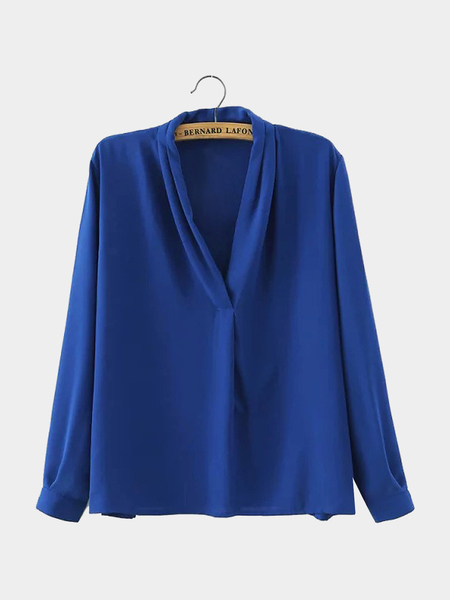 V Neck Pleated Flowy Top in Blue