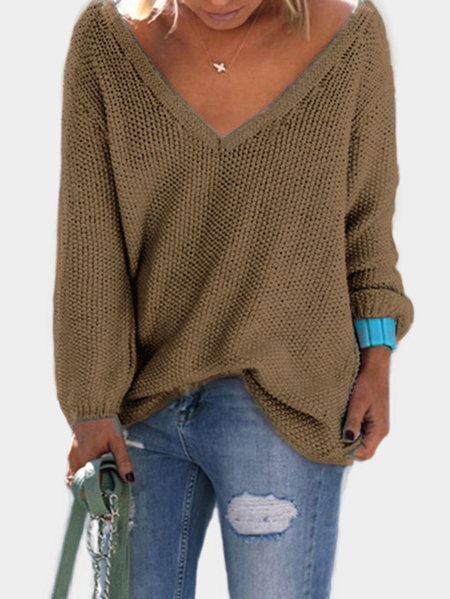 Brown Classic Design Loose Plunge Sweater