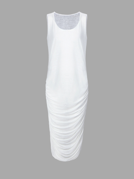 White See-through Sleeveless Pleated Party Dress
