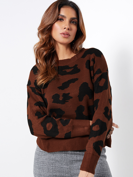 Coffee Leopard Print Crew Neck Knit Jumper