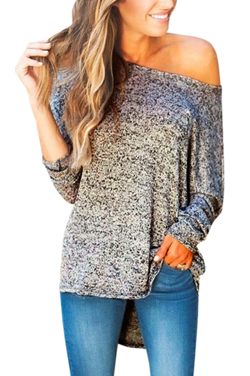 Dark Gray V-neck Knitted Jumper With Slit Hem