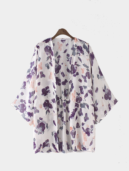 Floral Print Kimono with 3/4 length Sleeves