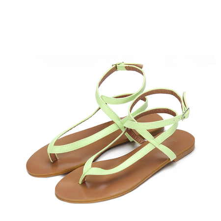 Light Green Leather Look Cross Ankle Strap Toe Post Flat Sandals