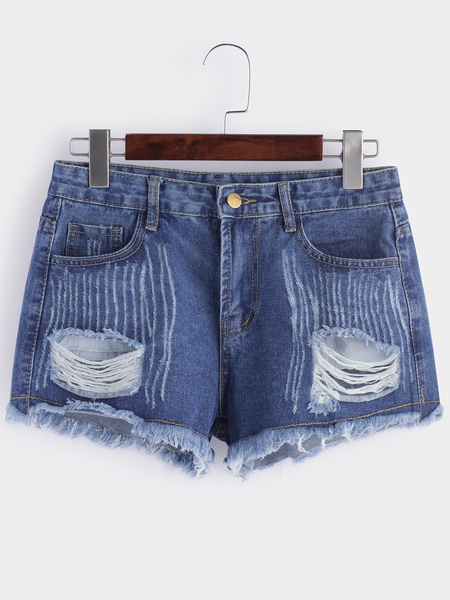 Blue Random Ripped  Low-waisted Shorts