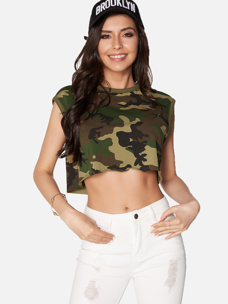 Army Green Camouflage Round Neck Sleeveless Crop Top