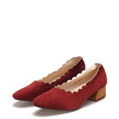 Square Toe Chunky Wool Heel Scalloped Suede Shoes