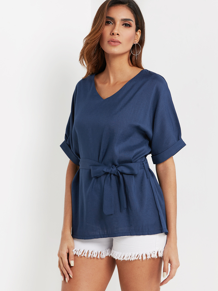 Blue V-neck Half Sleeves Belt Blouse
