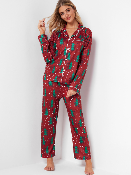 Burgundy Notch Collar Long Sleeves Christmas Pajama Sets