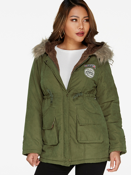 Army Green Faux Fur Hooded Design Long Sleeves Badge Patched Coat