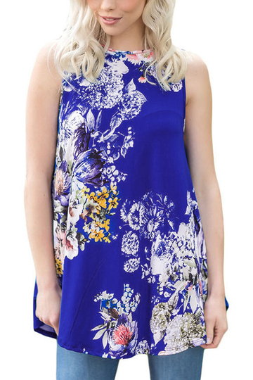Blue Casual Round Neck Pleated Hem Floral Print Top