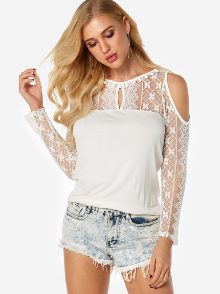 White See Through Lace Insert Cold Shoulder Long Sleeves Blouses