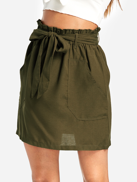 Army Green Self-tie Design Side Pockets Skirt
