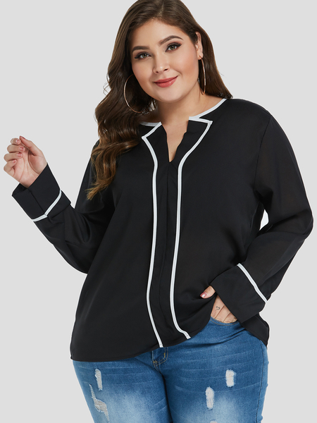 Plus Size Black White Trim Blouse