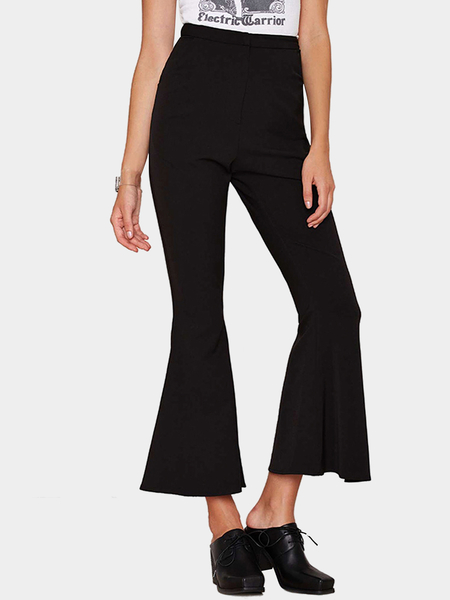High-rise Waisted Flared Trousers