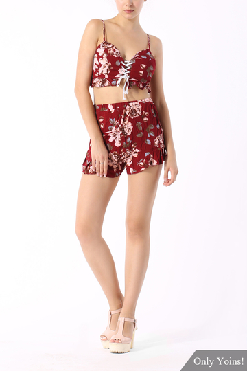 Vintage Floral Print Co-ord with Frill Detail