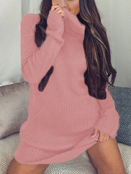 Pink Sexy High Neck Long Sleeves Knit Casual Dress