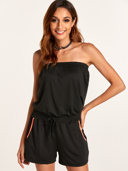 Strapless Playsuit with Drawstring Waist design