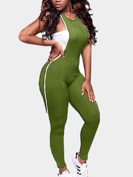 Green Cut Out Side Round Neck Sleeveless Jumpsuits