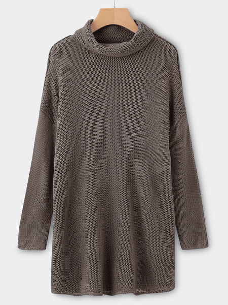 Coffee Roll Neck Long Sleeves Sleeves Dropped Shoulder Sweater