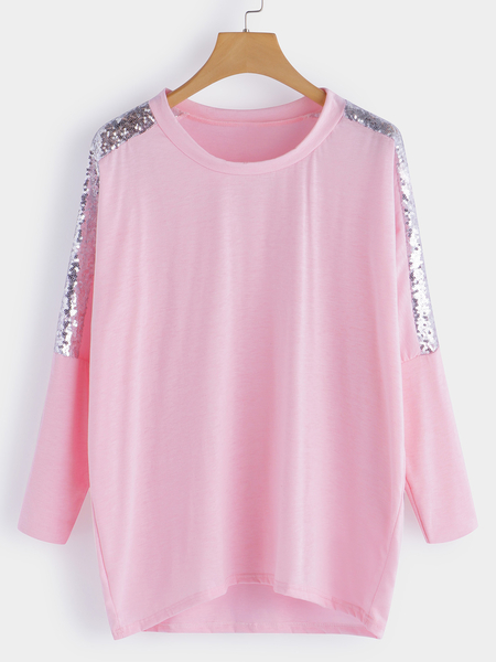 Pink Handmade Beaded Details Round Neck Long Sleeves T-shirts