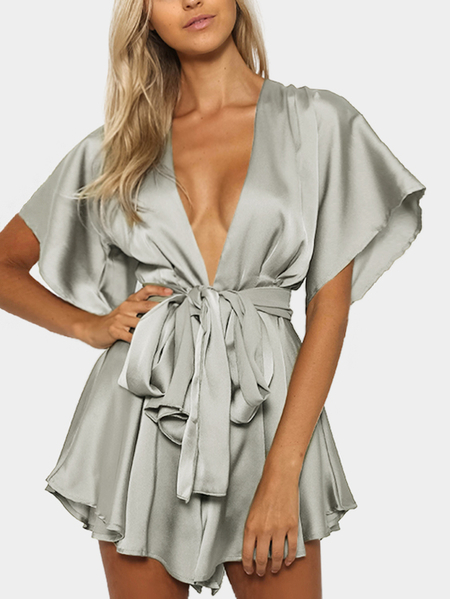 Silver V-neck Cut Out Self-tie Playsuit
