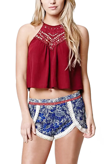Red Halter Hollow Lace Inset Crop Top