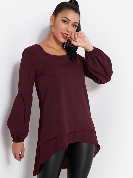 Burgundy Tiered Design Round Neck Lantern Sleeves Blouse With High-low Hem