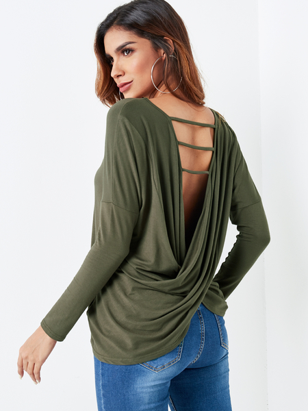 Army Green Ladder Cut V-cross Twist Back Top