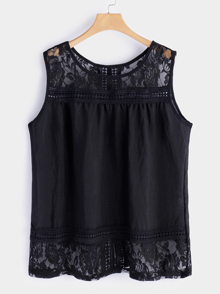 Plus Size Black Lace Details Slit Back Round Neck Tank