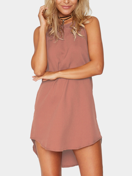 Yoins Pink Simple Sleeveless Mini Dress