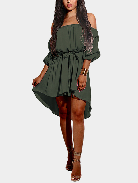 Off-The-Shoulder Curved Hem Midi Dress in Army Green