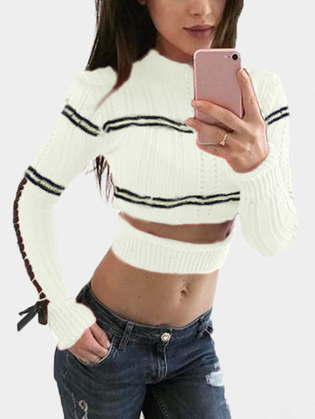 White Cut Out Long Sleeves Bodycon Crop Sweaters