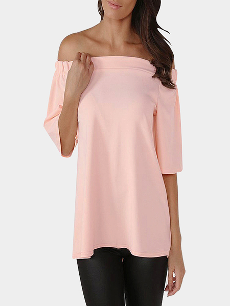 Pink Sexy Off Shoulder Back Slit T-shirt