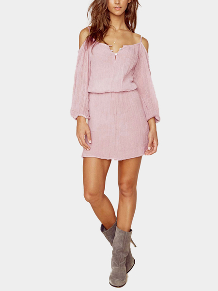 Cold Shoulder Mini Dress with Long Sleeves
