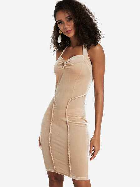 Apricot Backless Halter Bodycon Dress