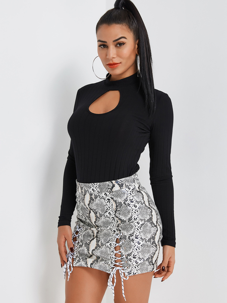 Black Mock Neck Keyhole Cutout Top