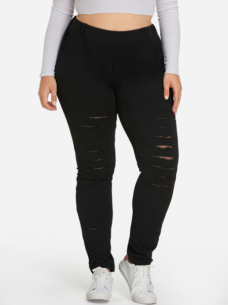 Plus Size Black Cut-out Pants