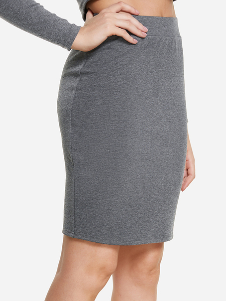 Grey Plain Mini Skirt