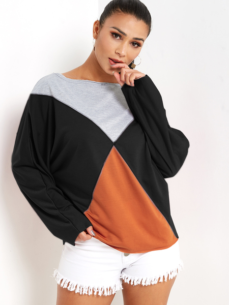 Black Color Block One Shoulder Long Sleeves Sweatshirt