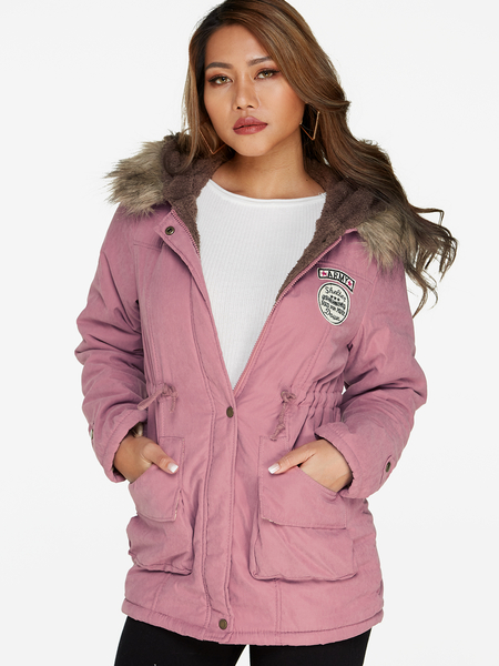 Pink Faux Fur Hooded Design Long Sleeves Badge Patched Coat